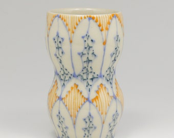 Ceramic Handmade Small Vase - with Sky Blue, Orange and Navy Pattern