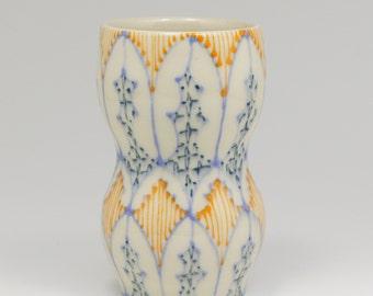 Ceramic Handmade Small Vase - with Sky Blue, Orange and Navy Pattern