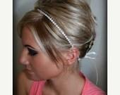 ON SALE Bridal Headband, Bridal Hair Piece, SINGLE Row Rhinestone ribbon, Accessories, Bridal, Wedding Hairpiece, Bridal Ribbon Headband, Rh