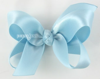 Satin Hair Bow - 3 inch hair bow, light blue hair bow, silk hair bow, girls hair bows, toddler hair bow, baby hair bow, boutique bows 3""