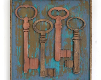 Key Wall Decor Framed Skeleton Keys Boho Insipred Rustic Wall Decor