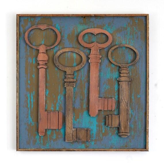 Key Decorations: Key Wall Decor Framed Skeleton Keys Boho Insipred Rustic Wall