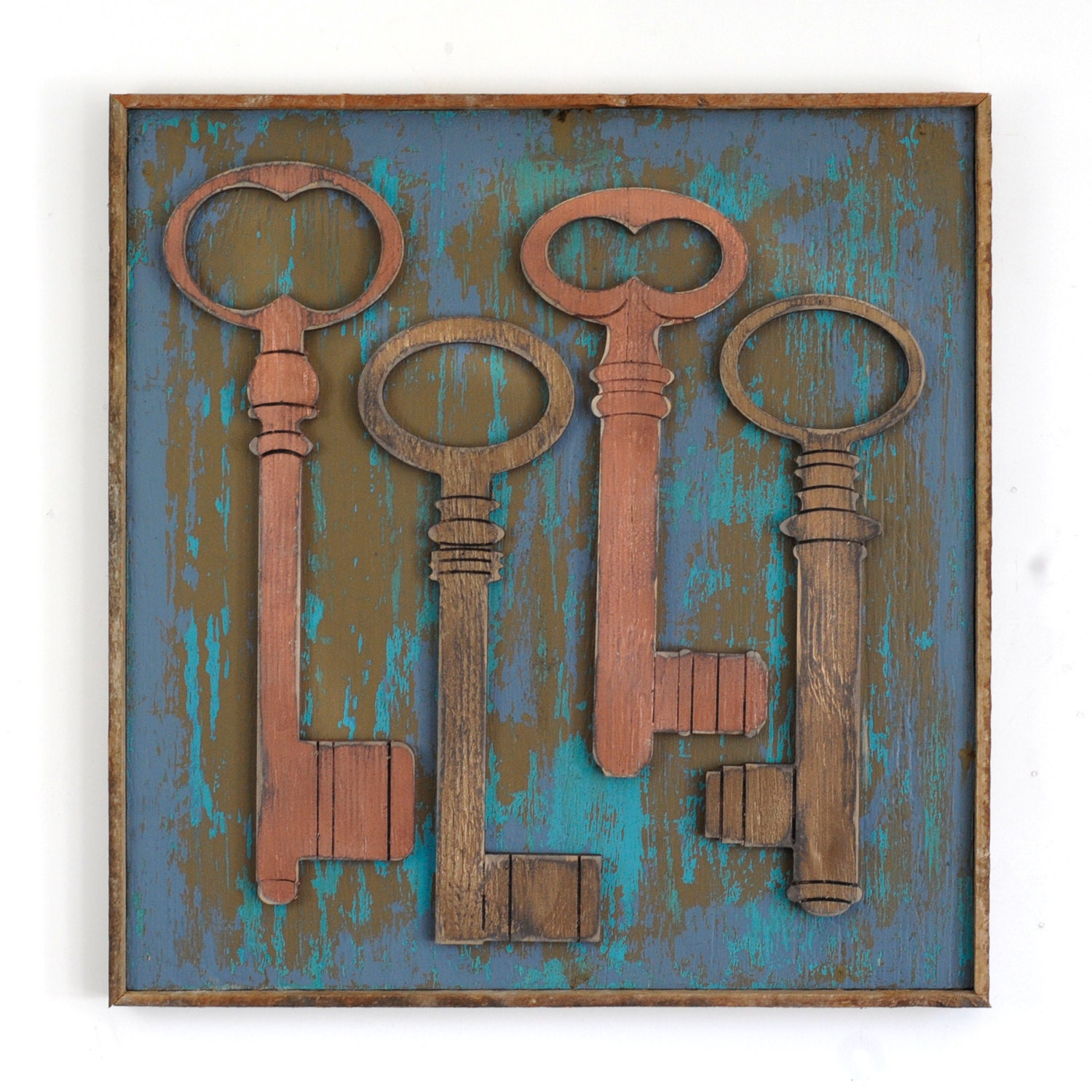 Key Wall Decor Framed Skeleton Keys Boho Insipred Rustic Wall