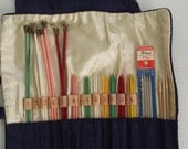 vintage set of knitting needles with pouch | vintage knitting supplies | knitting notions | vintage needlecrafts | knit needle replacements