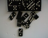 retro games . vintage black dominoes in original plastic case . vintage games . vintage dominoes . retro decor . man space decor . white dot