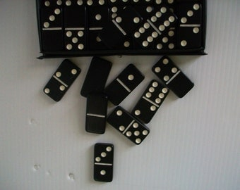 retro games | vintage black dominoes in original plastic case | vintage games | vintage dominoes | retro decor | man space decor | bar room