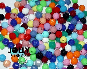 6mm Round Faceted Beads - Opaque Multi - 500 piece bag
