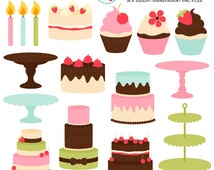 Cakes & Stands Clipart Set - cakes, cupcakes, stands, candles, cakes with stands - personal use, small commercial use, instant download