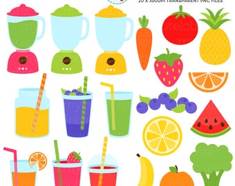 Smoothies Clipart Set - blenders, fruits, vegetables, drinks clip art set, juice - personal use, small commercial use, instant download