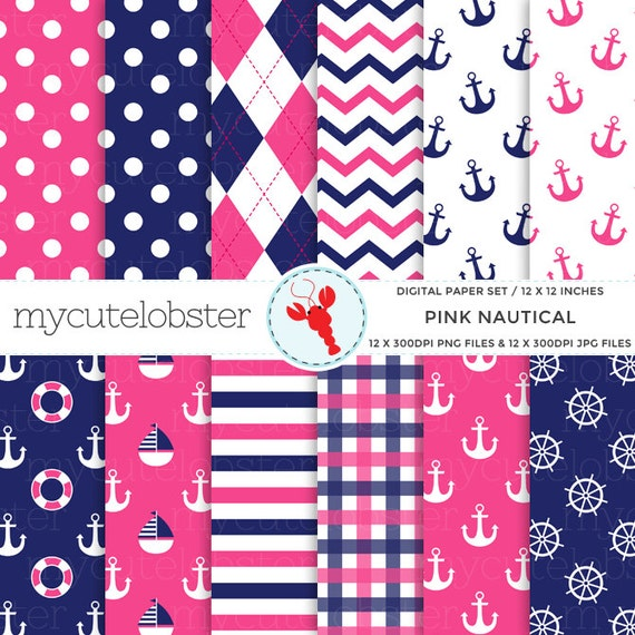Pink Nautical Digital Paper Set - patterned paper pack, anchors, nautical, pink, navy - personal use, small commercial use, instant download
