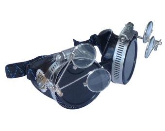 Victorian Steampunk goggles aviator victorian welding biker eye cup--bbb dark2