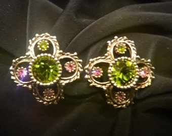 Vintage SARAH COVENTRY RHINESTONE Clip-on Earrings