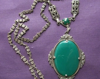 On Sale Antique Sterling Silver Chrysoprase Marcasite Necklace Art Deco Jewelry