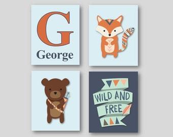 Woodland Nursery Art - Woodland Animal Art - Woodland Nursery Decor - Personalized Art for Kids- Animal Wall Art - PRINTS ONLY
