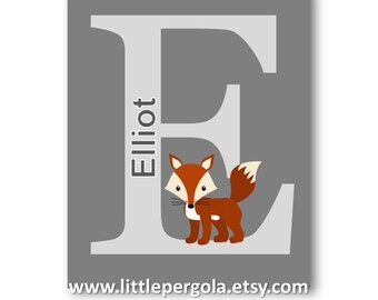 Woodland Nursery Decor // Fox Art // Custom Name Art // Fox Baby Shower Gift // Personalized Art for Kids // Fox Art // PRINT ONLY Unframed