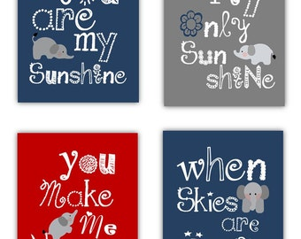 "You are my sunshine Art // Elephant Nursery Art // Nursery Wall Art // Nursery Decor // Blue Red and Gray Art Prints // Four 8""x 10"" Prints"