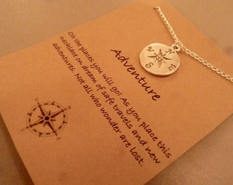 Compass Necklace: Silver Tone Compass Adventure Necklace, Compass Charm, Travel Jewelry, Friendship Necklace, Safe Travel, World Traveller