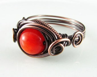 Wire Wrapped Ring Red Jade Copper Ring Dragons Eye Ring Wire Wrapped Jewelry Copper Jewelry