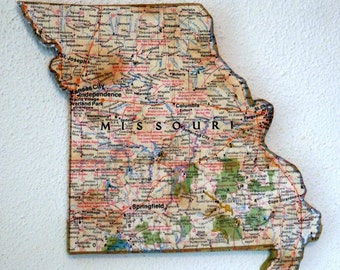 MISSOURI Vintage National Geographic Mini Map Wall Art