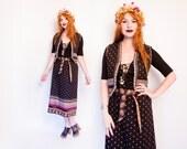 Vintage 1970s Ensemble - Black Printed Cotton Boho Ethnic Vest Skirt Set 70s - Medium