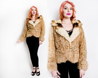 Vintage 1940s Fur Coat - Blonde Curly Persian Lamb Cropped Jacket 40s - Extra Small XS