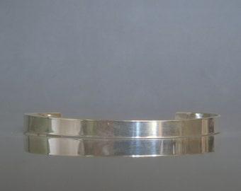 Sterling silver mens cuff bracelet, Shiny cuff bracelet, Mens jewelry