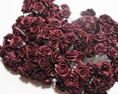 144 Mini Burgundy Satin Roses with White Stems