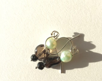 Green Pearl, Smoky Quartz, Black Spinel Silver Earrings, Lilyb444