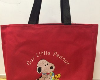 "Personalized Baby Snoopy Tote Diaper Bag Boy or Girl ""Our Little Peanut"""