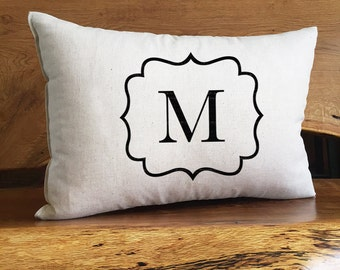 Personalized Monogrammed Home Decor Pillow, Personalized With Initial and Decorative Boarder, Housewarming Gift, Personalized Pillow