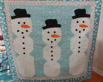 Snowman Quilt or Wall Hanging-Free Shipping to US and Canada