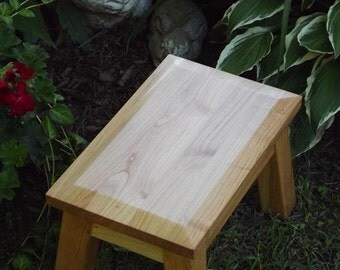 "Cherry/ wood/ reclaimed/step stool/ foot stool/ riser/ mission/ beveled edge/ 8"" - 10"" H"