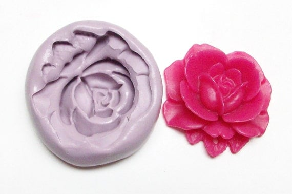 Rose Mold #262 - silicone mold, craft mold, porcelain mold, jewelry mold, metal mold, resin mold, clays mold, flexible mold