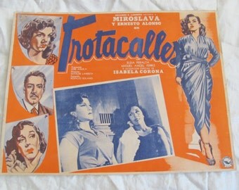 Vintage Spanish Mexican Movie Lobby Card Poster - Trotacalle