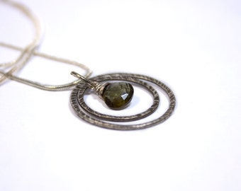 Fine Silver Andalusite Double Hoop Circle Necklace.