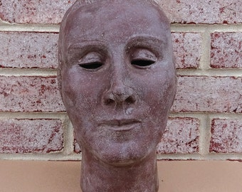 Mid-Century Modern Brown Stone Head Sculpture -- Incredible RARE find!!