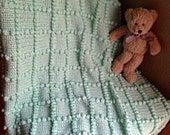 Light Green Crochet Bobble Baby Blanket / Afghan