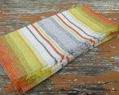 Vintage Swedish Orange Tones Striped Table Runner