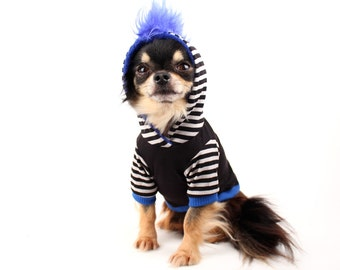 Dog Clothes Blue Mohawk Hoodie for Dogs black and white stripes Clothes for Pets