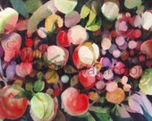 """Abstract Fruit Cocktail, Red, Violet, Olive Green, Indigo Blue, Watercolor Painting Print Kitchen Wall Art Home Decor, """"Fruit Cocktail"""""""