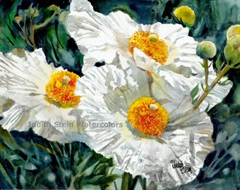 "White Poppy Flowers Patio Garden, Yellow Center, Green Stems, Watercolor Painting Print, Wall Art, Home Decor, ""Hoppy Poppy"""