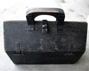 Vintage Wooden Tool Box Carpenter Tote
