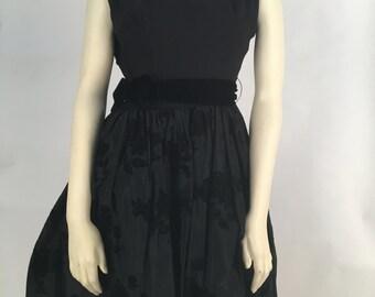 Black Formal Prom Dress with Black Flower Prints
