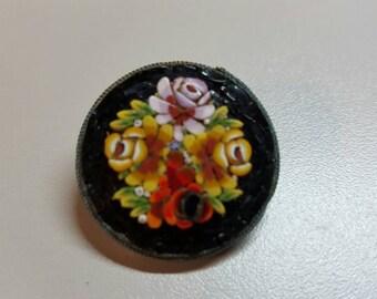 Round Black Raised Micromosaic Brooch