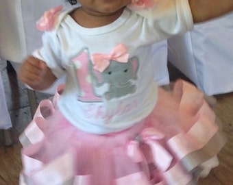baby girls pink and grey tutu set with grey girly elephant