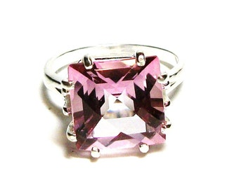 "Topaz, pink topaz ring, princess cut topaz, engagement ring,solitaire ring, birthstone pink s 6 3/4   ""Princess Pink"""