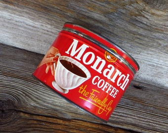 Monarch Coffee Can Tin Chicago Illinois 1950s Rustic Farmhouse Kitchen Decor Vintage Advertising Red Coffee Tin