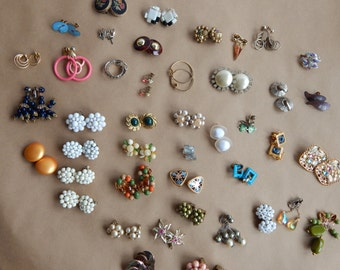 60 pairs of earrings from the 1940's 1950's and beyond