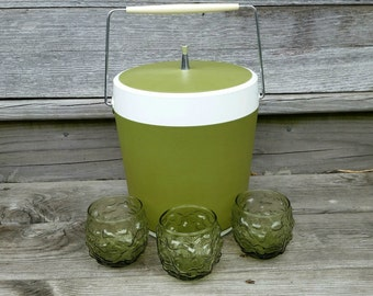 Retro Barware Set: Vintage Ice Bucket, Avocado Green Glasses, Roly Poly Tumblers, Lowball Old Fashioned
