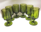 Green Glasses 70s Modern Set Of Six Footed Tumblers